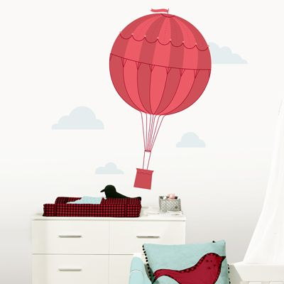 Whimsical hot air balloon clouds printed wall decals stickers graphics 27wx45h balloon 69