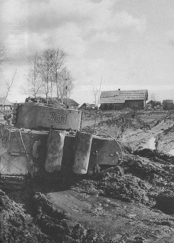 A Tiger in the sea of ​the ​mud on the Russian front, probably in early 1944.