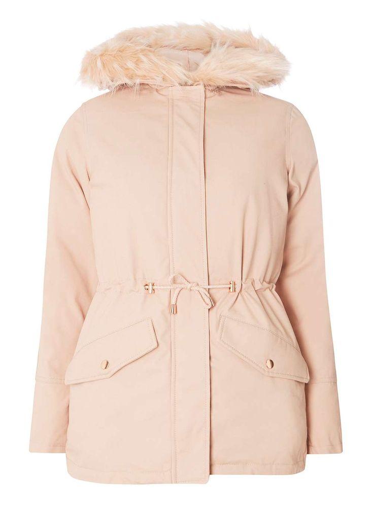 Pink faux fur hooded parka
