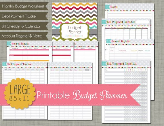 Budget Planner Printable Set Sized Large door PolkaDotPosiePrint