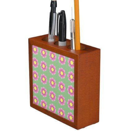 Pink daisy pattern pencil holder - spring gifts style season unique special cyo