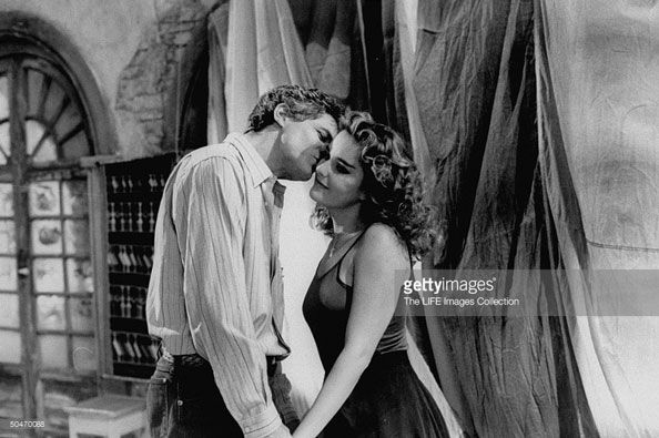 Actor Terence Ford kissing scene at Riviera TV-series shot (1992).