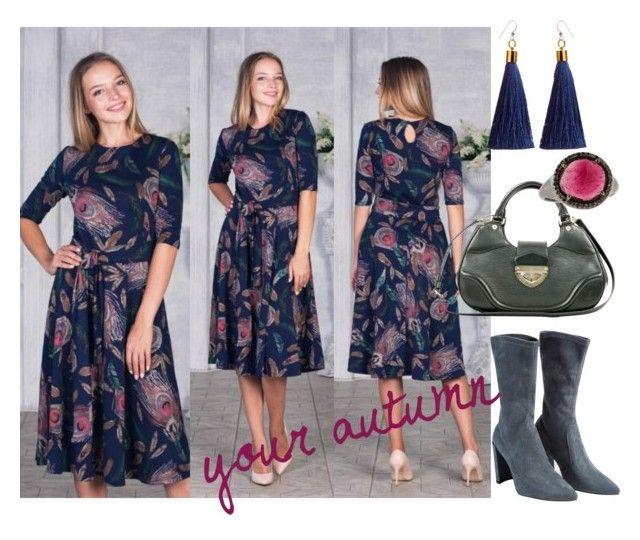 """платье с павлиньими перьями"" by liyalibra on Polyvore featuring мода, WithChic, Louis Vuitton и Bavna"