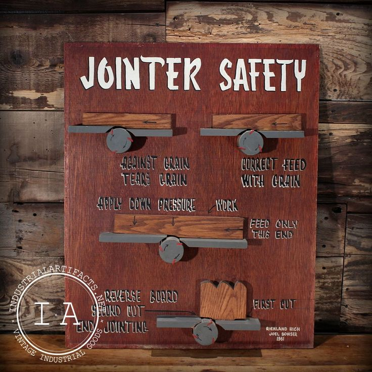 Vintage Industrial Jointer Safety Shop Class Sign Chart Project 1950s Model Art