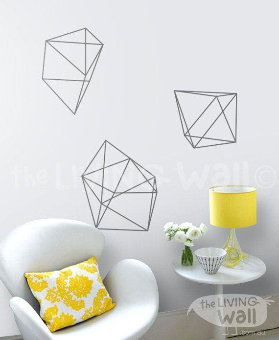 Geometric Diamonds Wall Decals, Geometric Shapes Home Decor Removable Wall…