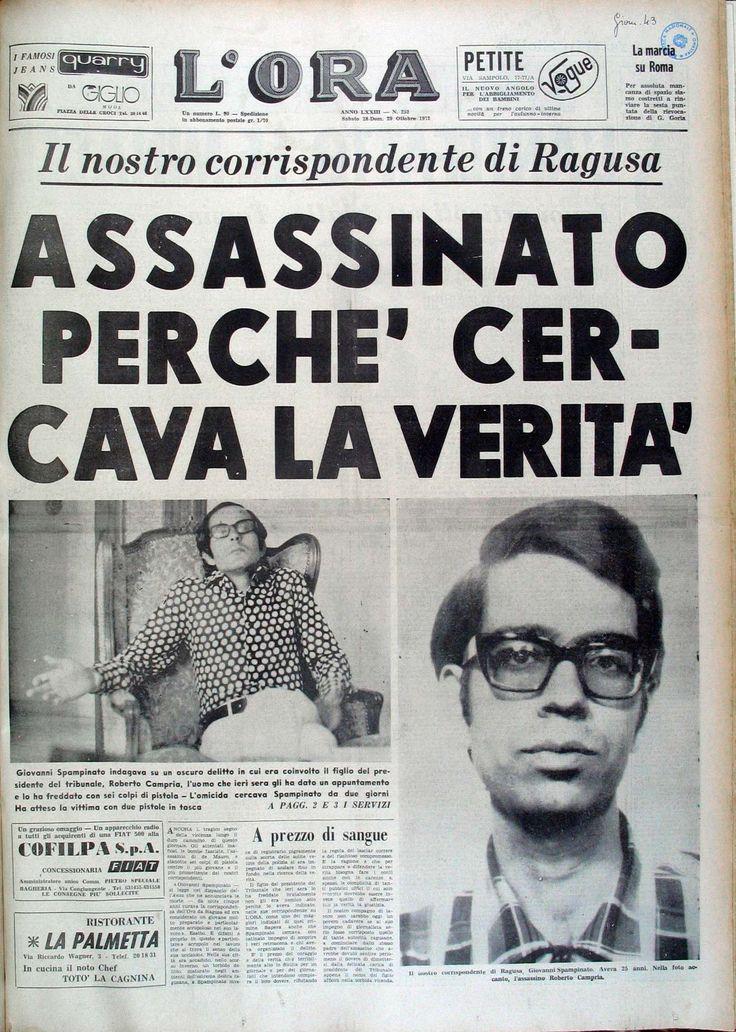 Prima pagina del quotidianoL'Ora di Palermo dedicata alla morte del suo corrispondente da Ragusa Giovanni Spampinato