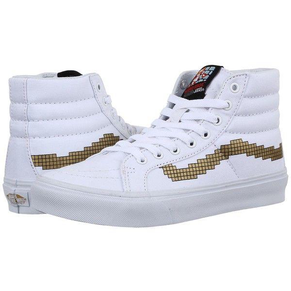 Vans SK8-Hi Slim X Nintendo ((Nintendo) Console/Gold) Skate Shoes ($70) ❤ liked on Polyvore featuring shoes, sneakers, vans footwear, vans trainers, vans sneakers and vans shoes