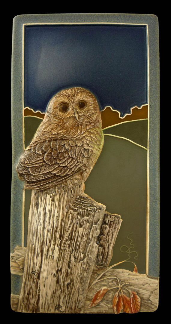 Ceramic Sculpted tile Saw whet owl 4x 8 by MedicineBluffStudio, $68.00