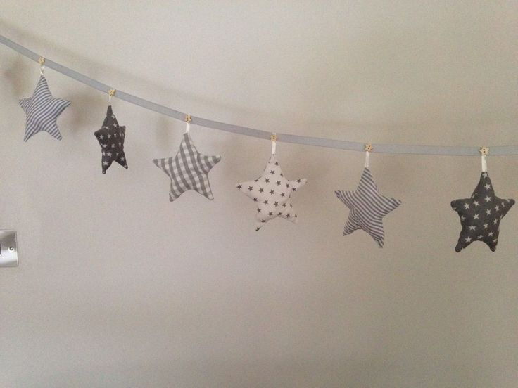 Star Fabric Bunting OR Nursery Decoration IN Grey Blue Beige OR Pink | eBay