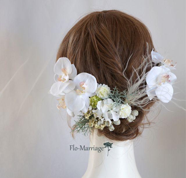 気品あふれる白い胡蝶蘭のヘッドドレス | ハンドメイドマーケット minne