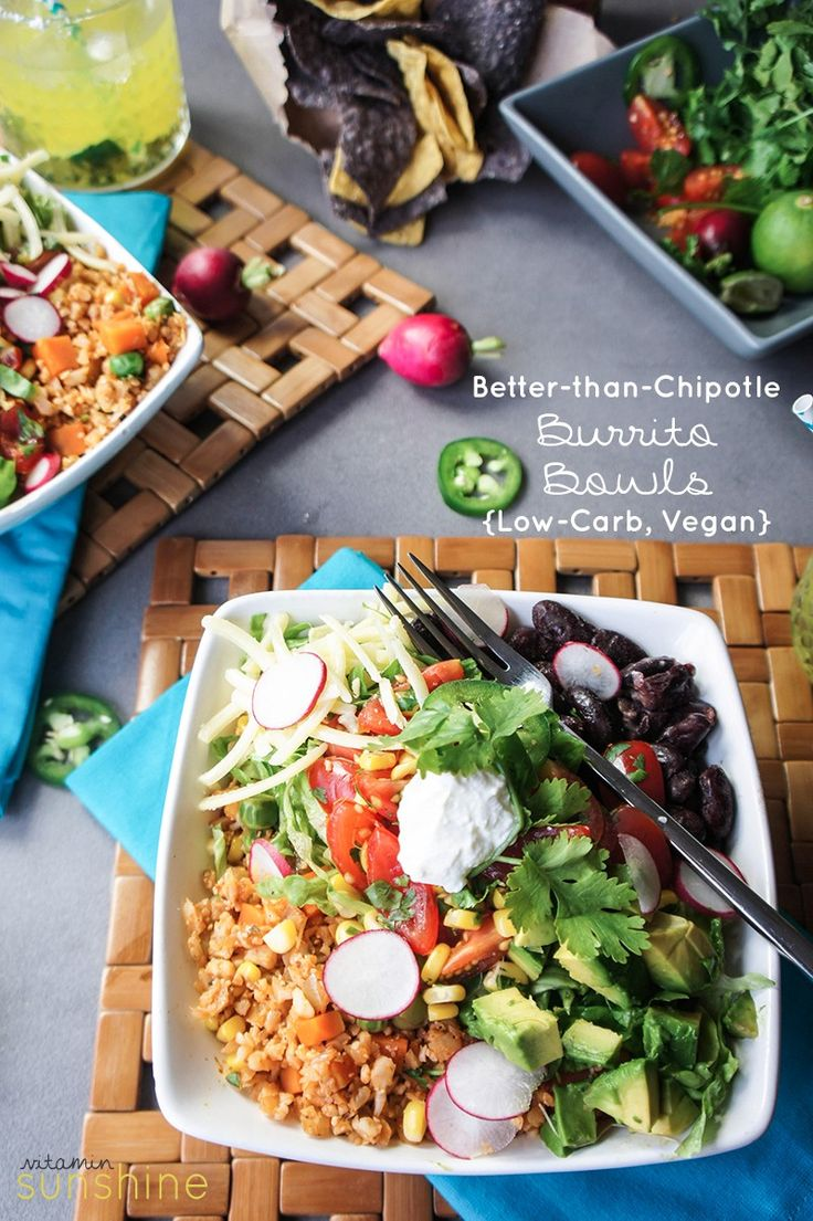 """Skip take out-- and make your own burrito bowls at home. Made with a quick to make, super healthy, low carb """"rice."""" The whole family will love it!"""