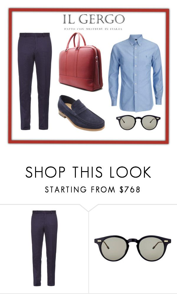 """Loafer Nemo Reversed Blue / Bond Red"" by paolo-rossi on Polyvore featuring Alexander McQueen, Thom Browne, men's fashion e menswear"