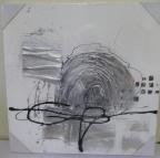 Schilderij 3D abstract wit zilver nr1