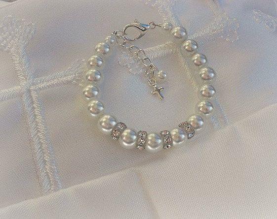 Baptism-Christening-First Communion Jewelry-Baptism-Cross Baby Bracelet-Baby Keepsake