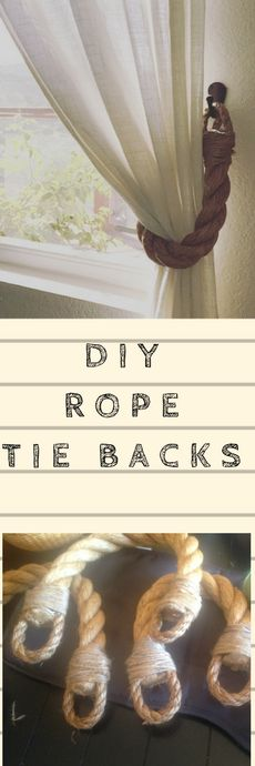 Diy Rustic Rope Tie backs curtain tie back tutorial.