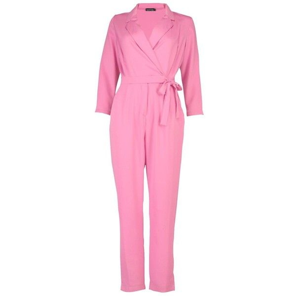Boohoo Rebecca Premium Satin Tailored Jumpsuit (€24) ❤ liked on Polyvore featuring jumpsuits, pink jumpsuit, tailored jumpsuit, jump suit, boohoo jumpsuits and satin jumpsuit