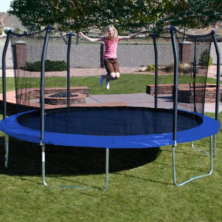 Skywalker Trampolines 17 ft. Oval Trampoline with Safety Enclosure Blue - SKW069-1