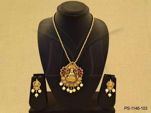 PS-1146-103    Laxmi ji designed temple pendant set jewellery