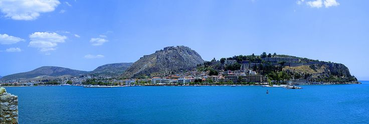 Port of #Nafplio in the #Peloponnese, as seen from #Bourtzi, the islet-fortress that guards the entrance to the port. #Palamidi #Castle is capping the hill (center)