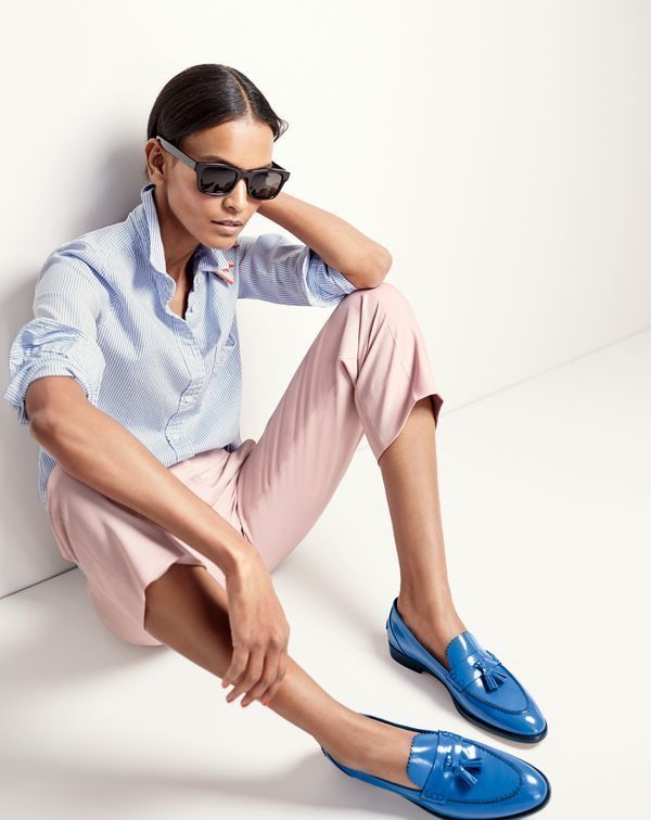 J.Crew Women's Boy Shirt in Striped Cotton-Tencel® Oxford, Patio Pant, Irving Sunglasses and Biella Tassel Loafers