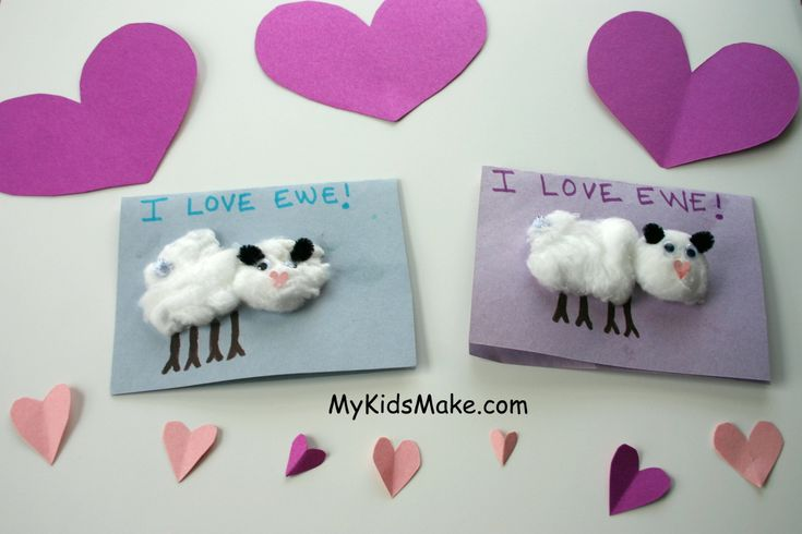 "Cute little ""I Love Ewe"" valentines (with little heart noses). Adorable!"