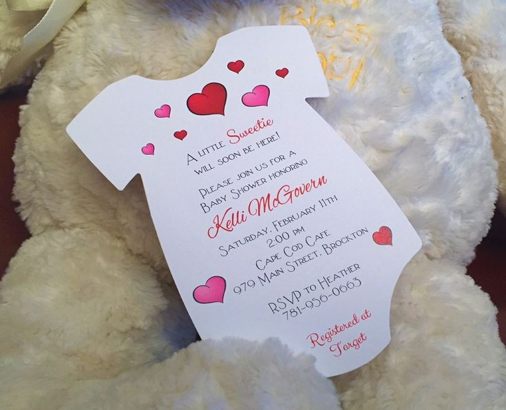 """Valentine's Day Baby Shower Invitation. A """"sweet"""" invitation for your February Baby Shower!    Each invitation measures 4.75 x 6.75 and is printed on white matte card stock (weight of 253 grams). All invitations come with white matte envelopes. By www.rsvpcustomcreations.com"""