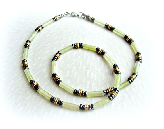 Mens stone beaded necklace jade and hematite necklace mens