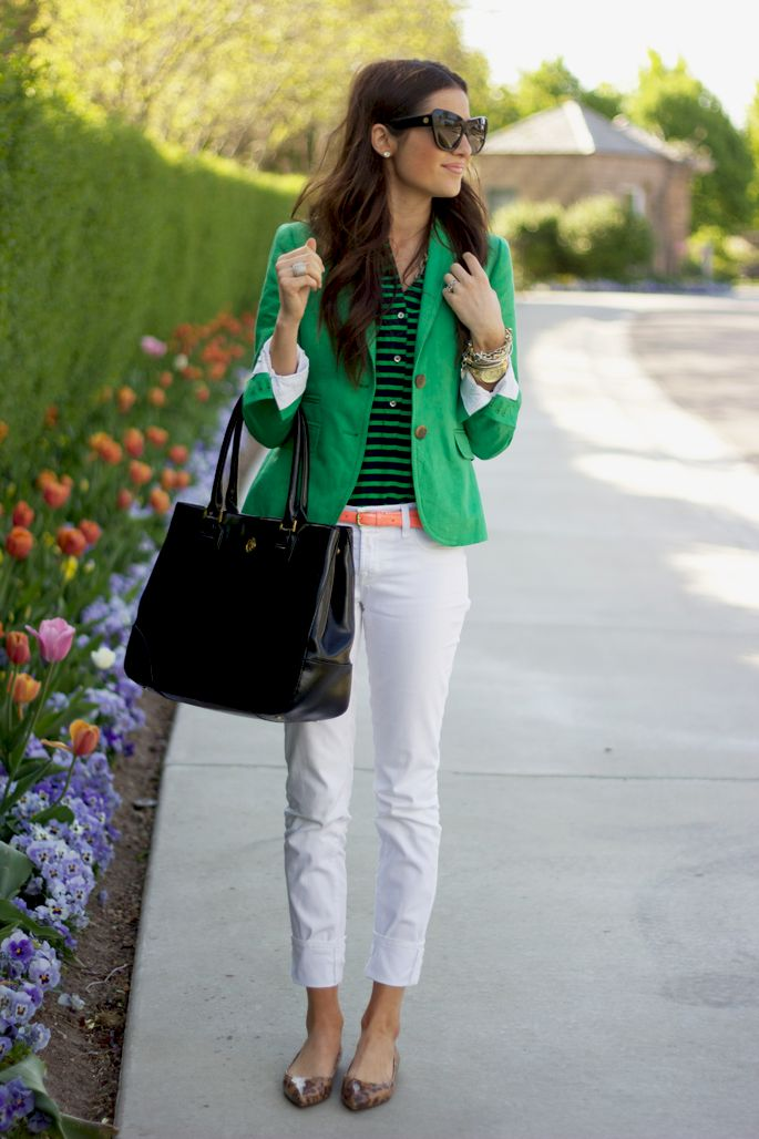 .: Outfits, Fashion Ideas, Style, Clothing, Green Blazers, White Pants, Kelly Green, White Jeans, Green Jackets