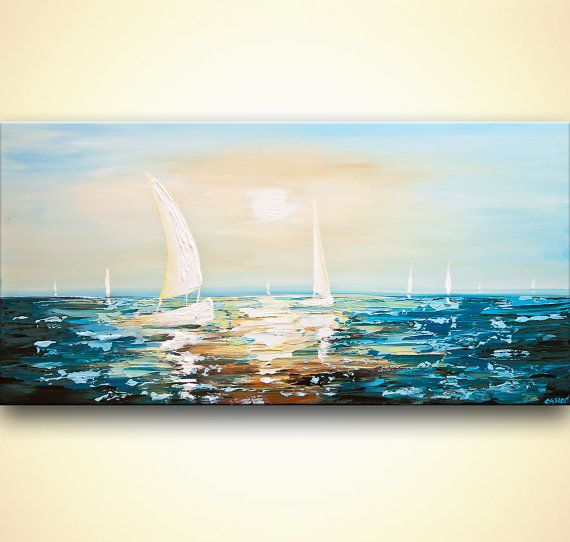 Paintings name: Clear Water Size: 48x24 thick Medium: Acrylic on gallery-wrapped stretched canvas, heavy texture, palette knife Colors: Dark brown, rust, orange, yellow, white, teal, light blue This blue seascape painting was painted on a staples free sides canvas with a palette knife.. It is ready to hang. This gorgeous sunset painting was painted on a stretched wrapped canvas in my studio. The painting was created with great quality paints and materials. It was coated with varnish to pr...