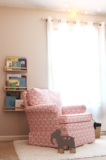 These shelves in the living room would be kid-friendly (no tips) and free up some floor space.