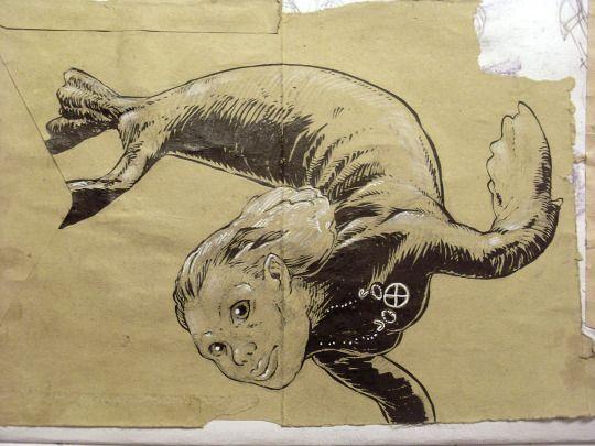 Selkie, ink on an old envelop. Jan Willem Middag