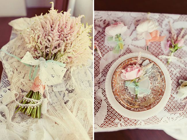 Love the simply flowers and vintage lace table cloth    Natalie Shelton's 1920 wedding shoot shown on greenweddingshoes.com.
