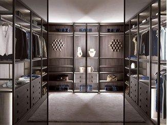 Luxury Eck Begehbarer Kleiderschrank aus Holz und Glas nach Mass PALO ALTO Begehbarer Kleiderschrank aus
