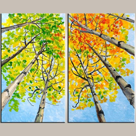 Looking up forest, Huge Original Forest Landscape Painting 36x30 Sale  elseart