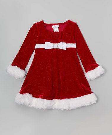 Look what I found on #zulily! Red & White Bow Santa Dress - Toddler & Girls #zulilyfinds