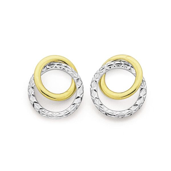 9ct Gold Two Tone Diamond Cut Double Circle Stud Earrings