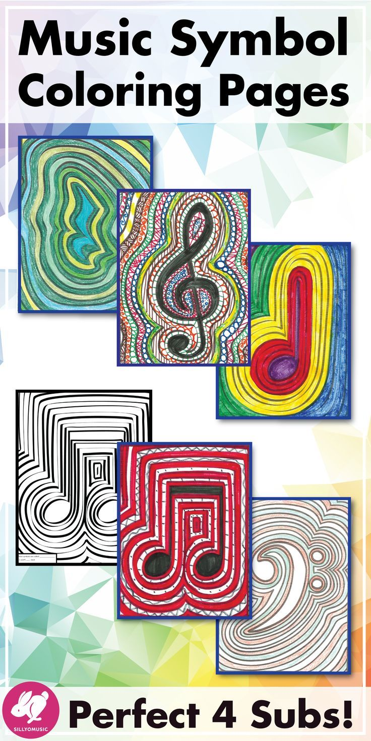Music symbol coloring pages  are fun music activities for your elementary music classroom, piano studio, general music lessons, music sub plans, and as a filler activity for more chaotic days. Music coloring sheets also look great on bulletin boards!