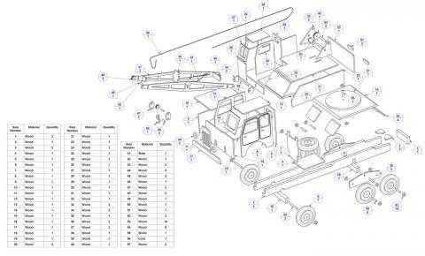 Lista de peças - Plano modelo do caminhão guindaste