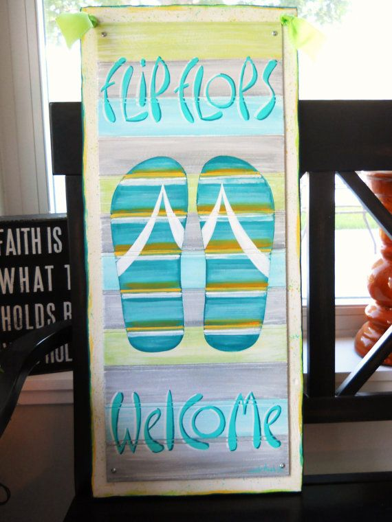 flip flop welcome sign aqua blue flip flops welcome sign by on etsy - Pool Signs