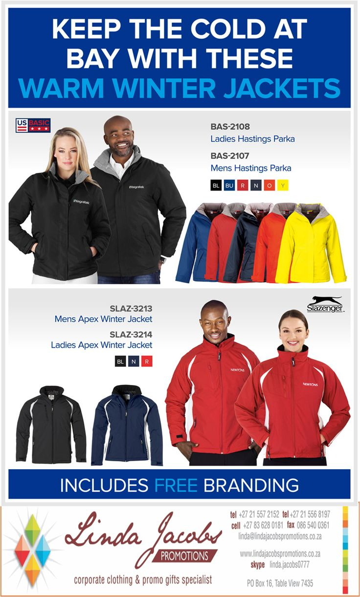 #WinterJackets #BrandedClothing #Corporate #Promotional  linda@lindajacobspromotions.co.za 083 6280181