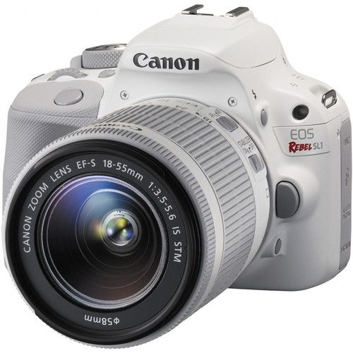 Câmera DSLR Canon EOS Rebel SL1 com Lente EF-S 18-55mm f/3.5-5.6 IS STM (Branca)