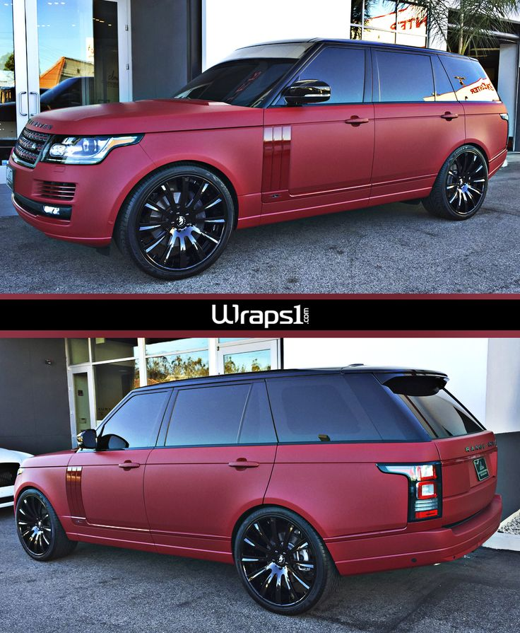 Really nice color change wrap on this Range Rover by Wraps1.  Material Used: Avery SW Garnet Matte Metallic and Gloss Burgundy accents.  http://wrapsone.com/