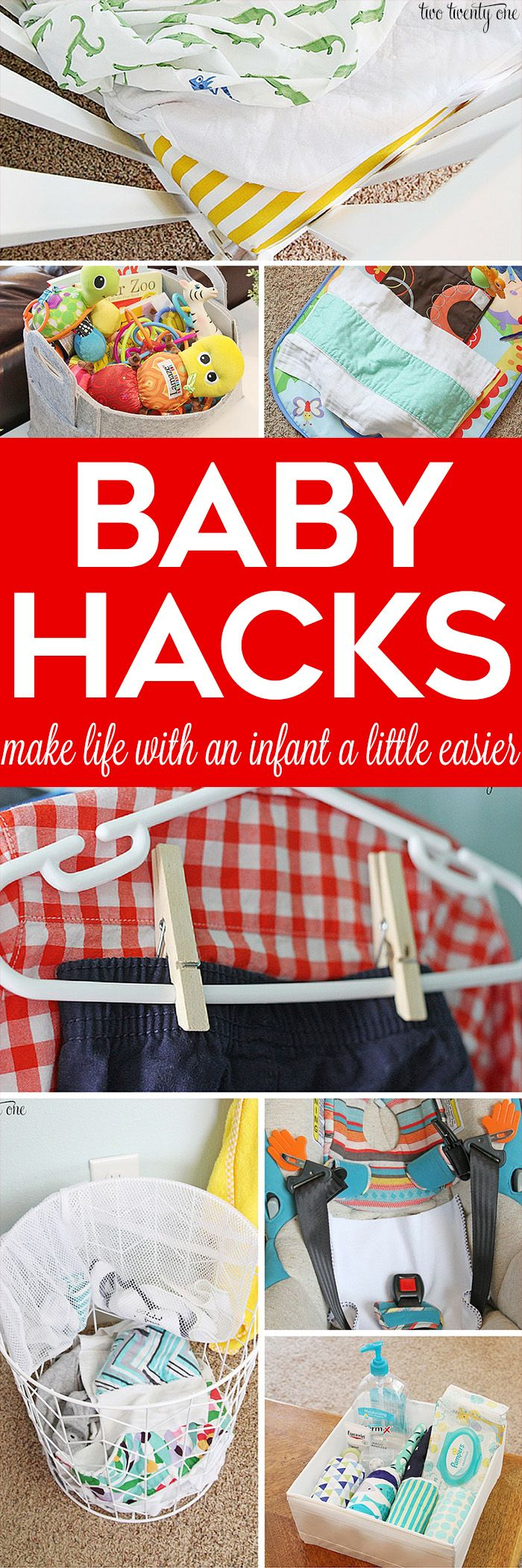 Baby hacks! Great tips and tricks to make life with a baby a little easier! A popular pin for baby and new parents! http://www.twotwentyone.net/baby-hacks/