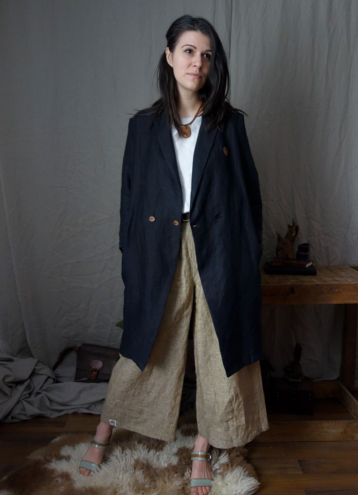Loose Linen Blouse and extra wide linen pants with oversized summer coat, the most comfortable combination! Classic, beautiful, timeless! By Linen Old Ways #custom #customgift #handmade  #shophandmade #smallbusiness #linen #woodworking #sustainable #etsy #etsyshop #etsyseller #woodennecklace #insipredbynature #slowfashion #timelessclothes #timeless #consciousfashion #loveforlinen #inspiration #linentexture #widepants #linenpants #summerlinencoat #coat  #woodennecklace #linenoldways…