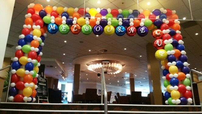 Custom made and printed Melbourne Cup balloon arch. www.balloons.com.au