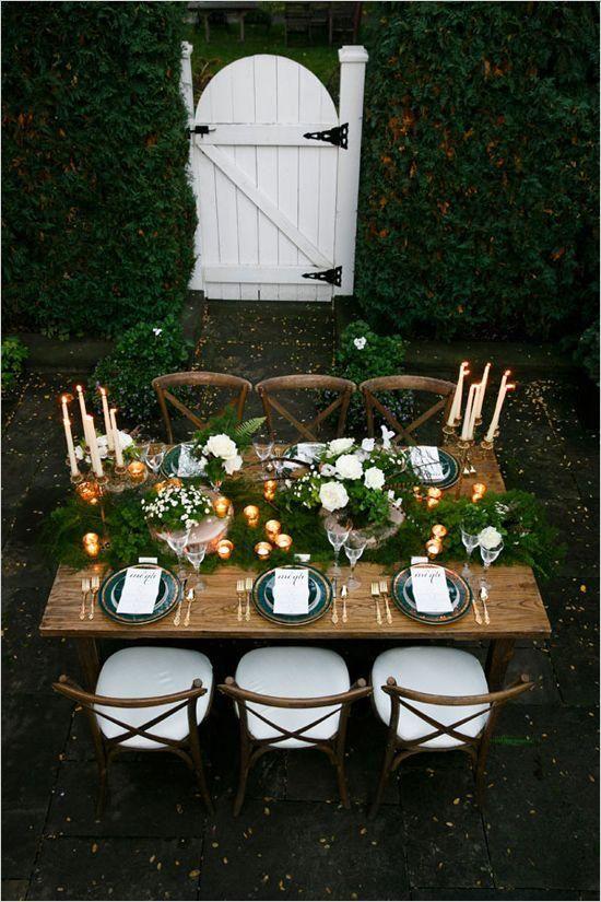 Sherwood forest inspired reception via for Garden wedding table settings