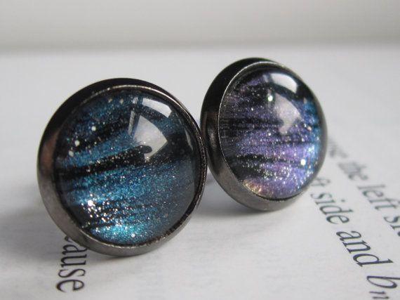 Nuclear - Earring studs - science jewelry - science earrings - galaxy jewelry - physics earrings - fake plugs - plug earrings - nebula studs on Etsy, $11.00