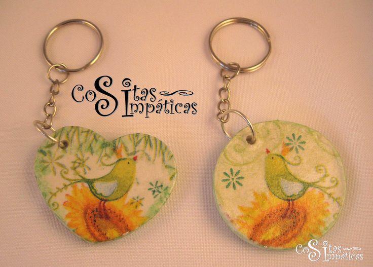 LLaveros de colibrí hecho en pasta Das.  Cositas Simpáticas ^_^