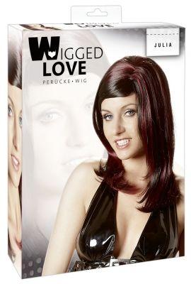 WIGGED LOVE Parrucca Julia Capelli Lunghi Lisci Neri con Ciocche Rosso Scuro