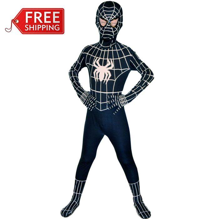 black spiderman costume kids Halloween costumes for kids Children superHero spider-man Cosplay zentai Full bodysuit Custom
